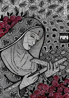 Santa Rita de Cássia pela artista Luciana Pupo - IG @lucianapupoart