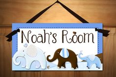 Set of 3 Blue and Brown Elephant Boy Baby Nursery by ToadAndLily, $15.00