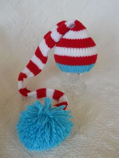 Knit Baby Hat, Dr. Suess Stocking Elf Newborn, Knitted Infant Photo Prop, Red, Blue, White, All Sizes, LONG tail, Munchkin Pixie Beanie. $29.99, via Etsy.