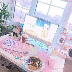 Gaming setup nintendo – gaming-setup nintendo – configuration de jeu n Gaming Room Setup, Computer Setup, Pc Setup, Room Ideas Bedroom, Room Decor, Game Room Kids, Kawaii Bedroom, Pastel Room, Cute Room Ideas