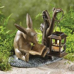 Reading Rabbit Garden Lantern ~ Just Too Cute! Rabbit Garden, Rabbit Art, Bunny Rabbit, Garden Candles, Garden Lanterns, Metal Lanterns, Rabbit Sculpture, Lantern Candle Holders, Bunny Art