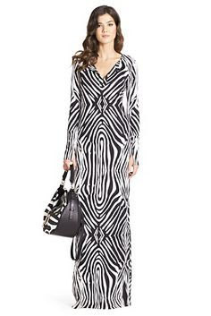 Mazel Silk Jersey Maxi Dress In Tete Zebra Black