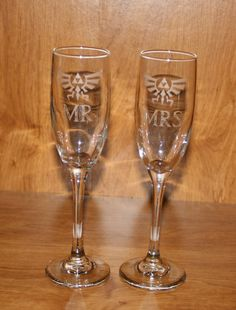 Etched Legend of Zelda Inspired Champagne Flutes by MasonMountain