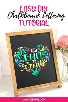Easy DIY Chalkboard Lettering Sign Step-by-Step Tutorial by Vial Designs Hand Lettering For Beginners, Calligraphy For Beginners, Learn Calligraphy, Calligraphy Handwriting, Calligraphy Quotes, Modern Calligraphy Tutorial, Hand Lettering Tutorial, Chalkboard Lettering, Chalkboard Ideas