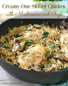 Creamy One Skillet Chicken with Mushrooms and Orzo. Made this and it was yummy. Next time adding cooking onion to sauté with garlic and orzo, Orzo Recipes, Chicken Recipes, Dinner Recipes, Cooking Recipes, Healthy Recipes, Meal Recipes, Skillet Recipes, Casseroles Healthy, One Skillet Meals