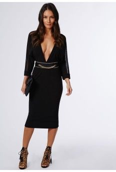 Cilla Crepe Bat Wing Midi Dress Black