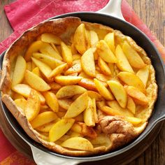 Baked Peach Pancake Recipe -This dish makes for a dramatic presentation. I usually take it right from the oven to the table, fill it with peaches and sour cream and serve it with bacon or ham. Whenever I go home, my mom (the best cook I know) asks me to make this. —Nancy Wilkinson, Princeton, New Jersey