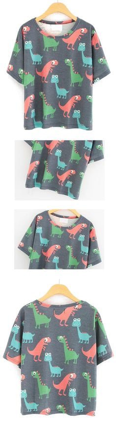 Lovely dinosaur graphic loose shirt at romwe.com. So cute and will that cool with my new sneakers!