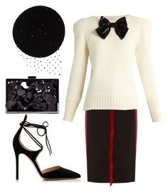 """""""retro gal"""" by glasspaperscizzors ❤ liked on Polyvore featuring Altuzarra, Gianvito Rossi, Boohoo, Yves Saint Laurent and Victoria Grant"""