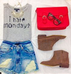 Forever 21 outfit. Denim shorts, grey t-shirt and brown boots