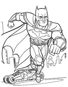 Batman con la sua Batmobile da colorare