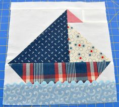 baby burrito quilts: The first block for the sailboat quilt...