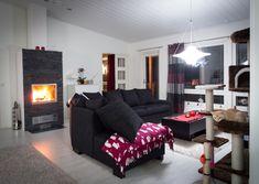 Talvella takka lämmittää niin taloa kuin mieltä <3 Couch, Living Room, Furniture, Design, Home Decor, Settee, Decoration Home, Sofa, Room Decor