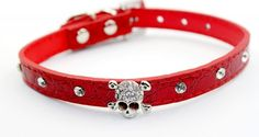 Namsan Adjustable Small Puppy Dog cat Doggie Cats Leather Collars Necklaces With Crystal Skull S -Red >> You can find more details here : Cat Collar, Harness and Leash