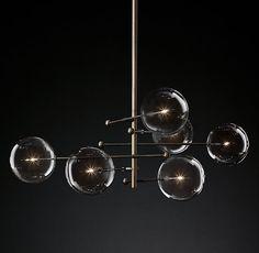 "Glass Globe Mobile 6-Arm Chandelier 55"""
