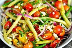 summer bean salad with tomatoes and feta