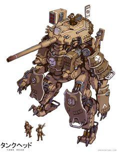 Tankhead Ieyasu (Full Armor Ver) by Emerson Tung Robot Concept Art, Armor Concept, Emerson, Zoids, Guerra Anime, Mecha Suit, Arte Robot, Robot Illustration, Transformers
