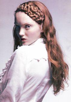 Lily Cole by Jason Ell / Lula magazine Fall/Winter Lily Cole, British Fashion Awards, Double Braid, Bun Hairstyles, Haircuts, Redheads, Fashion Photography, Edgy Photography, Braids