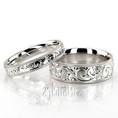 Milgrain Edge Fancy Carved Wedding Ring Set