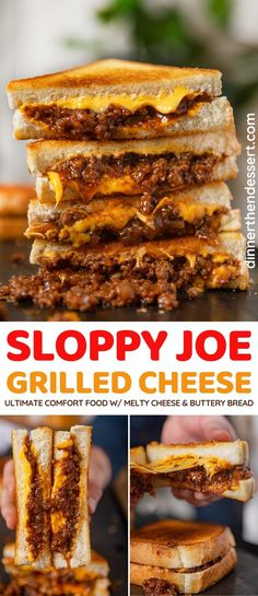 Ultimate Grilled Cheese, Grilled Cheese Recipes, Donut Recipes, Beef Recipes, Cooking Recipes, Dinner Recipes Easy Quick, Quick Easy Meals, Grilled Cheese Sloppy Joe, Homemade Sloppy Joes