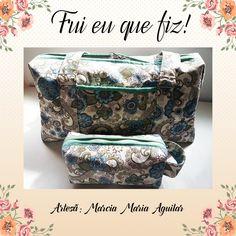 Bolsa com necessaire feita pela artesã Marcia Maria Aguilar.  Os tecidos utilizados são da coleção Cashmere!