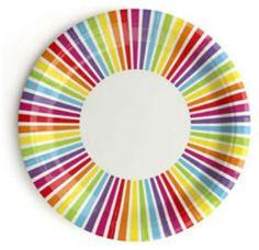 Rainbow Stripe Paper Plates