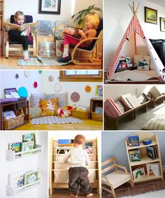 Inviting reading areas (parents from Mars) - Montessori toddler - Kinderzimmer Montessori Bedroom, Montessori Toddler, Montessori Activities, Toddler Preschool, Montessori Materials, Creative Kids, Kid Spaces, Kids And Parenting, Kids Playing