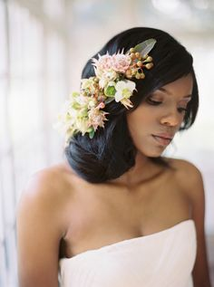 Bohemian organic floral hair piece: http://www.stylemepretty.com/2016/10/11/floral-filled-indoor-wedding-inspiration/ Photography: Apryl Ann - http://www.aprylann.com/