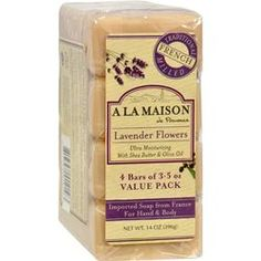 $7.49- A La Maison Bar Soap - Lavender Flower - Value 4 Pack, A La Maison is a unique line of traditional French milled liquid soap and bar soap for hand and body which contains 100% vegetable oils, cruelty free, no SLS, Paraben or Phthalates.