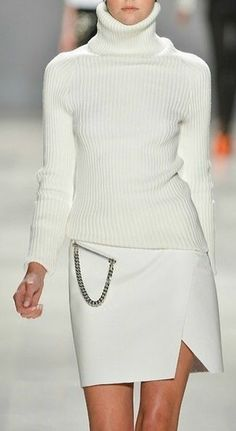 Fashionista: Winter White Style:Sweater and Skirt