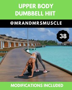 Upper Body HIIT Workout - Fitness and Exercises, Outdoor Sport and Winter Sport Upper Body Hiit Workouts, Upper Back Exercises, Full Body Hiit Workout, Body Workout At Home, Fitness Workout For Women, Pilates Workout, Yoga Fitness, Gym Workouts, At Home Workouts