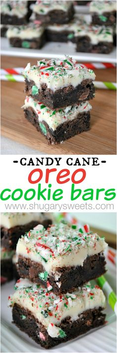 Candy Cane Oreo Cookie Bars ~ Made with Oreos, white chocolate fudge, and crushed candy canes.