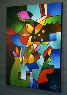 Cubist Still Life Original Abstract Painting by SallyTraceFineArt