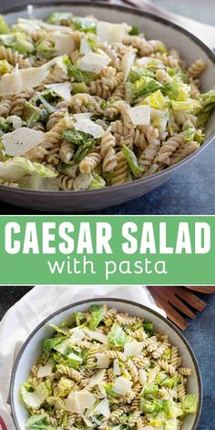 A fresh take on the Caesar salad, this Caesar salad with Pasta is a pasta salad/green salad hybrid that is combined with a homemade dressing for a perfect side dish or potluck salad. Potluck Recipes, Pasta Recipes, Gourmet Recipes, Vegetarian Recipes, Cooking Recipes, Healthy Recipes, Best Potluck Dishes, Healthy Meals, Cooking Fails
