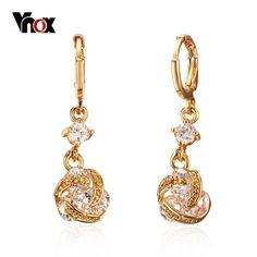 Vnox Ladies Drop Earrings for Women Crystal Zirconia Indian Yellow Gold Plated Earring