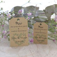 Etiquettes Mariage pour cadeaux d'invités Provence coeur d'olivier