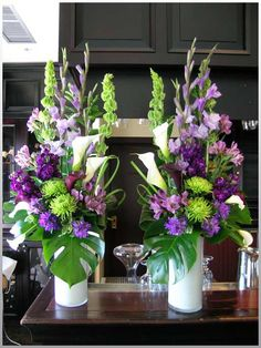 Purple and green wedding flowers amazing