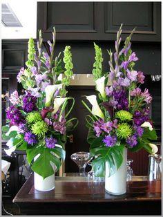 Purple and green wedding flowers amazing