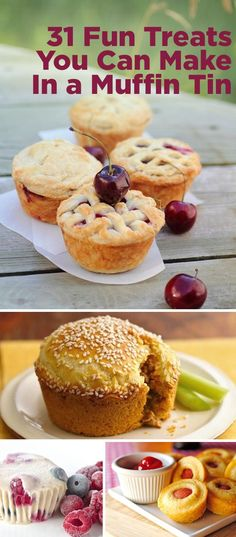 31 Fun Treats To Make In A Muffin Tin. I don't currently have a muffin tin, but I see myself buying one in the very near future. Not necessarily for muffins, but for healthier treats that you can make in small portions and freeze for later :D Just Desserts, Delicious Desserts, Dessert Recipes, Yummy Food, Healthy Food, Healthy Meals, Healthy Recipes, Muffin Tin Recipes, Muffin Tins
