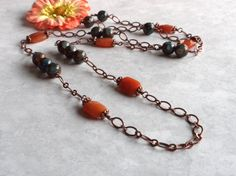Blue Quartz Necklace Long Copper Chain Necklace Red by APerfectGem