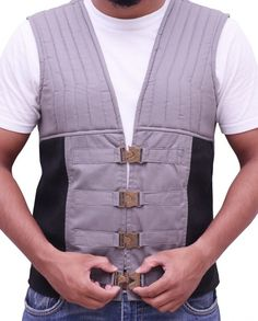Get your favorite The Gunslinger Dark Tower Roland Deschain Vest for men from your favorite actors as we bring to you an exclusive collection of quality outfits for all movie fans. Idris Elba Dark Tower, Cotton Vest, Cotton Fabric, Gunslinger Dark Tower, Roland Deschain, Black Color Combination, The Dark Tower, Fabric Material, How To Look Better