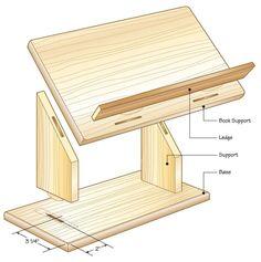 podium Diy Laptop Stand, Diy Ipad Stand, Wooden Ipad Stand, Diy Book Stand, Laptop Desk, Woodworking Projects Diy, Diy Wood Projects, Wood Crafts, Woodworking Plans