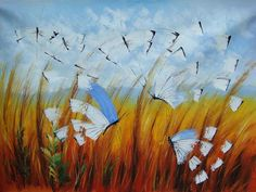 Butterflies - Hand Painted Oil Painting Artwork on Canvas - Free Shipping #00739 - $46.90 - Rock Wall Art - Buy Popular Hand Painted Oil Painting Artworks from Place of Origin , Save More