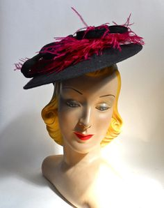 Shocking Pink Feather Topped Blue Felted Wool Hat circa 1940s - Dorothea's Closet Vintage