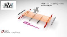 Woodworking 5 rows auto feeding drilling machine with auto feeding