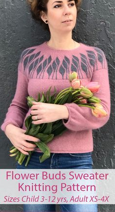 Knitting Pattern for Flower Buds Sweater in Adult and Child Sizes - arianna Cable Knitting, Sweater Knitting Patterns, Knitting Designs, Knit Patterns, Free Knitting, Dk Weight Yarn, Knitwear Fashion, How To Purl Knit, Sweater Design
