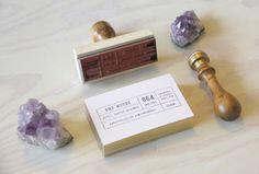 Business Cards - amy moore studio. gold edges, custom stamp design