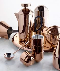 British designer Tom Dixon has launched a set of copper-covered items for brewing and serving coffee