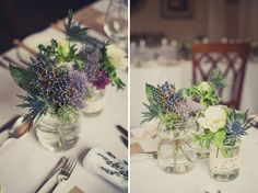 A Charming, Rustic & Relaxed Wedding - I like the idea just different colours. Rustic Wedding Flowers, Rustic Wedding Centerpieces, Floral Centerpieces, Wedding Table, Floral Wedding, Flower Arrangements, Centrepieces, Wedding Ideas, Flower Table Decorations