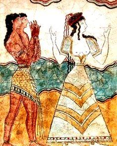 Statues & Busts :: Ancient Greek Wall Frescoes :: Minoan wall frescoes from the island of Crete :: Minoan Priestesses I -